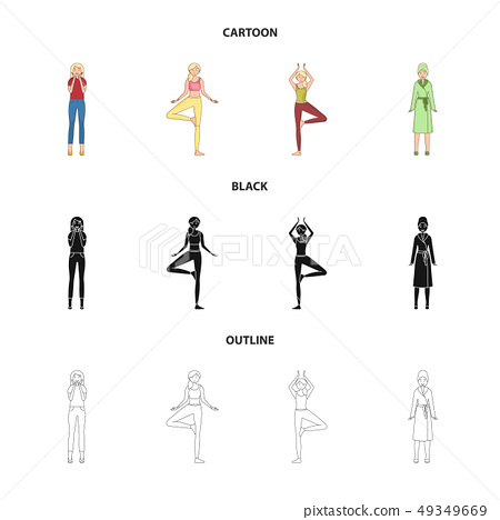 Isolated object of posture and mood icon. Collection of posture and female stock vector illustration 49349669
