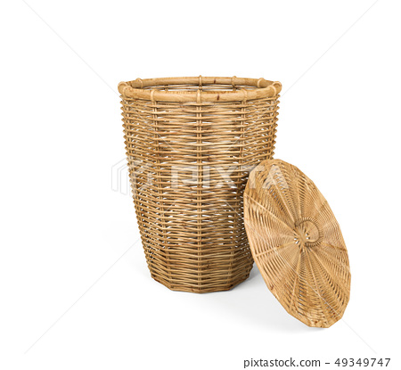 Rattan basket with lid on white background 49349747