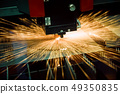 CNC Laser cutting of metal, modern industrial 49350835