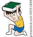一个用书保护头部的男孩 49351898