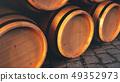 Wine, whiskey, rum, beer, barrels backgorund. Alcoholic drink in wooden barrels such as wine, cognac 49352973