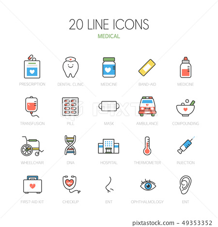 Simple line icon set of 20 49353352
