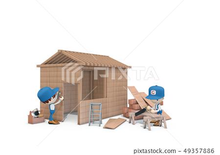 Houses, carpenters, ICONY 49357886
