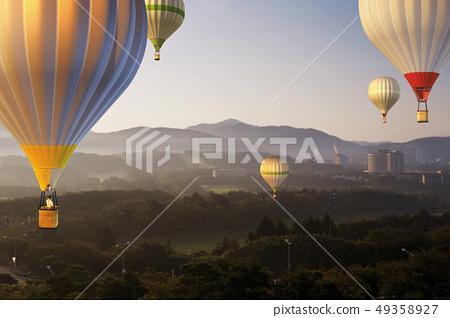 熱氣球,高爾夫球場,慶州現代酒店,慶州,慶北 49358927