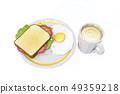 달걀후라이,커피,샌드위치 49359218