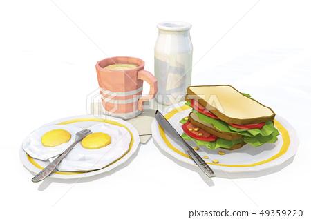 雞蛋炒,牛奶,咖啡,三明治 49359220