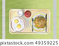달걀후라이,우유,햄버거,사과 49359225