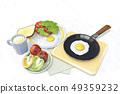 달걀후라이,커피,식빵,토마토,상추,사과,피망,프라이팬 49359232