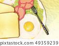 달걀후라이,식빵,토마토,상추,포크 49359239