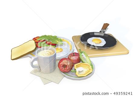 달걀후라이,커피,식빵,토마토,상추,사과,피망,프라이팬 49359241