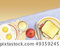 달걀후라이,커피,샌드위치,사과 49359245