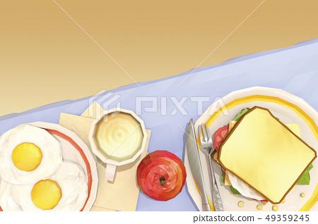 雞蛋炒,咖啡,三明治,蘋果 49359245