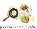 달걀후라이,커피,식빵,토마토,상추,사과,피망,프라이팬 49359262