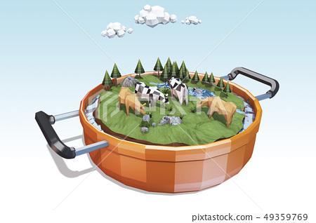 소,젖소,섬,냄비 49359769