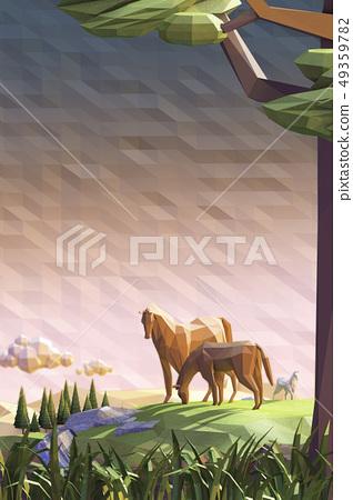 馬,沙漠,草地 49359782