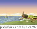 馬,燈塔,高海,海 49359792