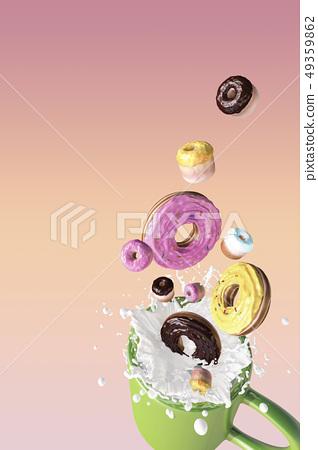 甜甜圈,牛奶,馬克杯 49359862