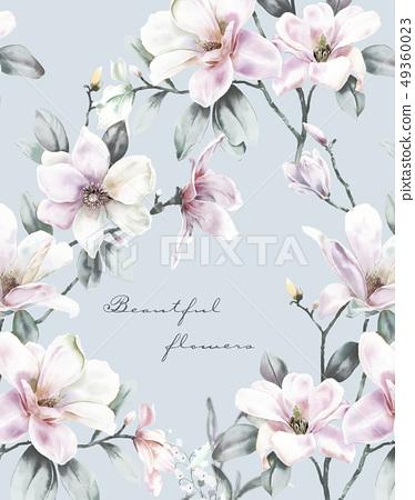 優雅的手繪玉蘭花,水彩花卉 49360023