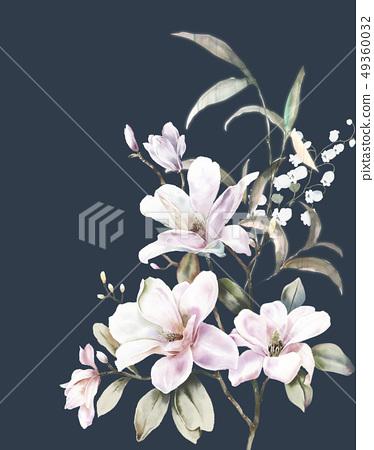 Elegant hand-painted magnolia flower, watercolor flower 49360032