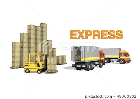 卡車,叉車,箱子 49360502