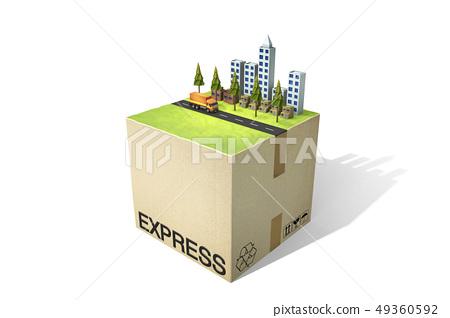 盒子,快遞,城市,卡車 49360592
