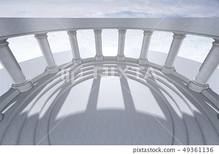 3D,Cg,複合,圖,架構,空間,西紅柿,荷蘭芹,階段,支柱,圈子,ビルダー,陰影,天空 49361136