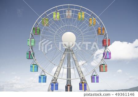 3d,CG,複合,圖,工業,設備,戶外,遊樂設施,圓形,摩天輪,禮品盒,形狀,符號,天空,雲 49361146