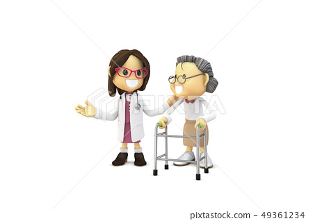 삼차원,CG,만화,캐릭터,ICONY,일러스트,병원,의료,의사,여자,환자,노인,디딤대,전신 49361234