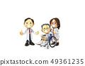 삼차원,CG,만화,캐릭터,ICONY,일러스트,병원,의료,의사,남자,여자,환자,노인,휠체어,전신 49361235