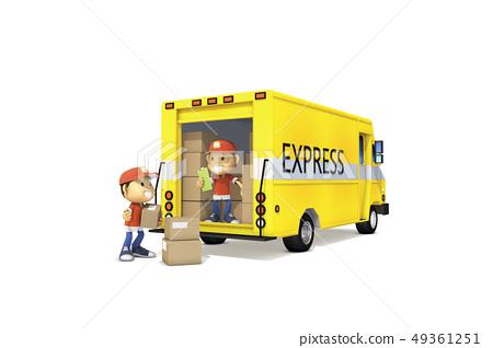 3D,CG,卡通,字符,ICONY,插圖,交付,男子,框,卡車,運輸,服務,運行,電報 49361251