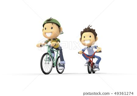 3D,CG,動畫片,字符,ICONY,例證,休閒,自行車,騎馬,少年,男性,學生,速度 49361274