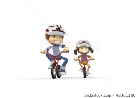 3D,CG,動畫片,字符,ICONY,例證,休閒,自行車,騎馬,人,成人,孩子 49361286