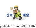 3D,CG,動畫片,字符,ICONY,例證,運輸,摩托車,騎馬,交付,工作,人,字符 49361307