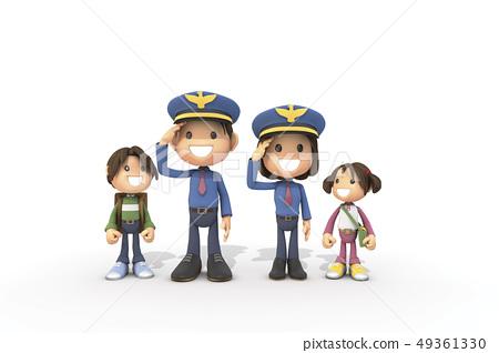 3D,CG,卡通,字符,ICONY,插圖,職業,警察,男人,女人,敬禮,兒童,安全 49361330