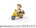 3D,CG,卡通,字符,ICONY,插图,运输,摩托车,骑,速度,男人,青年 49361333