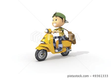 3D,CG,卡通,字符,ICONY,插圖,運輸,摩托車,騎,速度,男人,青年 49361333