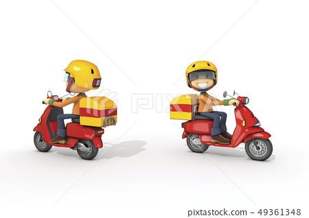 3D, CG, cartoon, character, ICONY, illustration, transportation, motorcycle, riding, delivery, job, man 49361348