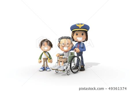 3D,CG,卡通,字符,ICONY,圖,職業,警察,女子,輪椅,病人,高級,兒童,安全,服務,服務 49361374