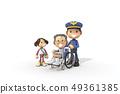 3D,CG,卡通,字符,ICONY,圖,職業,警察,男子,輪椅,病人,老人,女子,兒童,安全,服務,服務 49361385