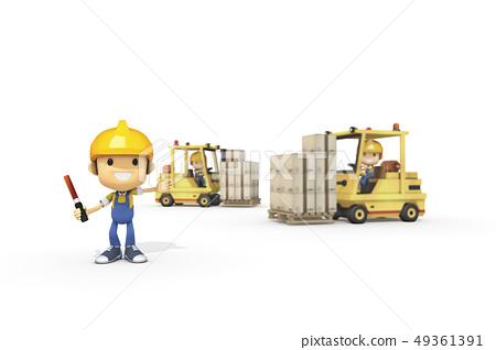 3D,CG,動畫片,字符,ICONY,例證,產業,鏟車,盔甲,安全,箱子,運輸,標誌 49361391
