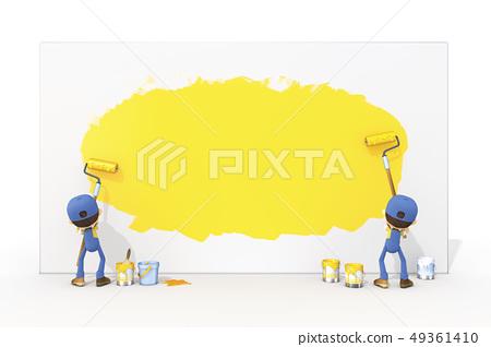 3D,CG,動畫片,字符,ICONY,例證,產業,職業,女實業家,油漆,迷彩漆彈運動,著色,牆壁,標誌 49361410