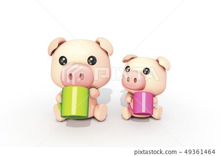 3D,CG,卡通,字符,ICONY,圖,動物,豬,樂趣,表達式,擬人化,馬克杯,飲料,電梯,對比,符號 49361464