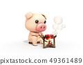 3D,CG,卡通,字符,ICONY,圖,動物,豬,看看,木火,露營,肉,燃燒,煙,坐,符號 49361489