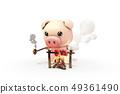 3D,CG,卡通,字符,ICONY,圖,動物,豬,看看,木火,露營,肉,烘烤,燒烤,煙,坐,符號 49361490