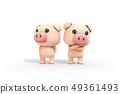 3D,CG,卡通,字符,ICONY,圖,動物,豬,表達,擬人化,返回,武器,小時,焦慮,放寬,舒適,符號 49361493