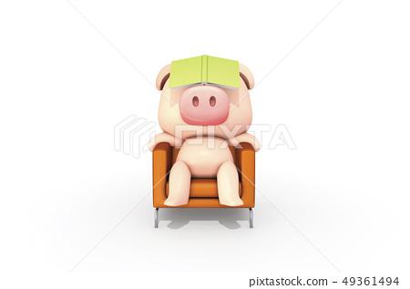 3D,CG,卡通,字符,ICONY,圖,動物,豬,表達式,擬人化,閱讀,本書,睡眠,放鬆,舒適,符號 49361494