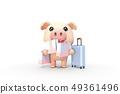3D,CG,卡通,字符,ICONY,圖,動物,豬,臉,擬人化,旅行,購物,購物袋,旅行袋,樂趣,符號 49361496