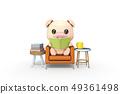 3D,CG,卡通,字符,ICONY,圖,動物,豬,看,擬人,閱讀,沙發,書,坐,表,家具,放鬆,舒適 49361498
