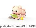 3D,CG,卡通,字符,ICONY,圖,動物,豬,表達式,擬人化,閱讀,遊戲,本書,智能手機,放寬,舒適,符號 49361499