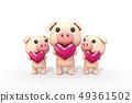 3D,CG,卡通,字符,ICONY,圖,動物,豬,表達式,擬人化,心,提升,家庭,幸福,符號 49361502